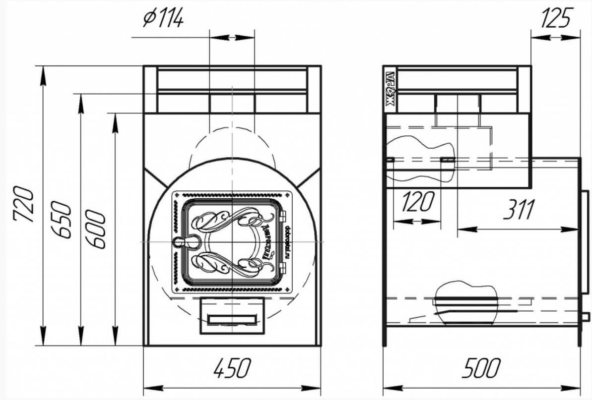 Печь жара стандарт 500 с теплообменником в разрезе толщина стенок теплообменника